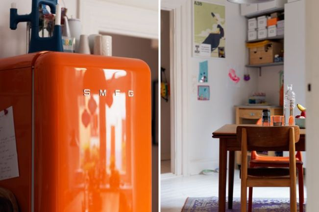 Smeg fridge in kitchen