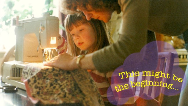 Me sewing with my mother when I was 8