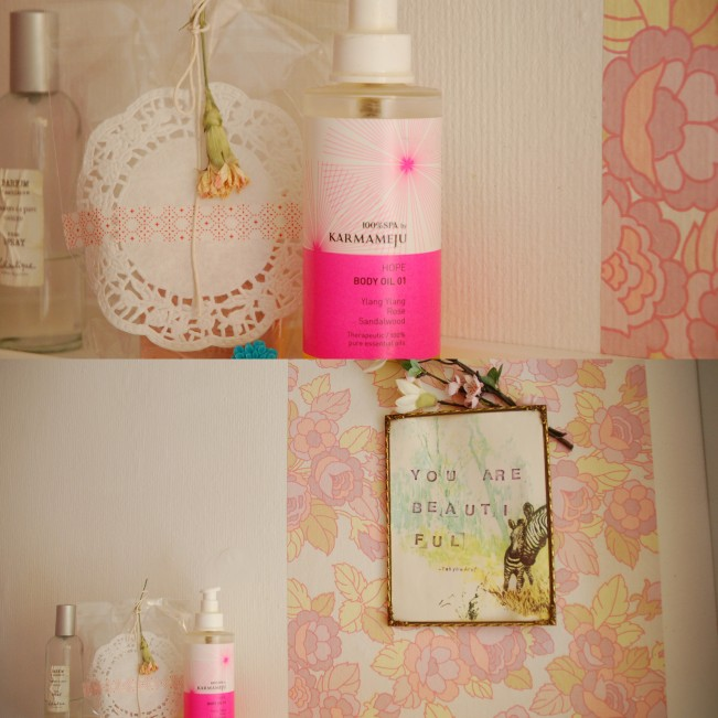 hope body oil on bathroom shelf
