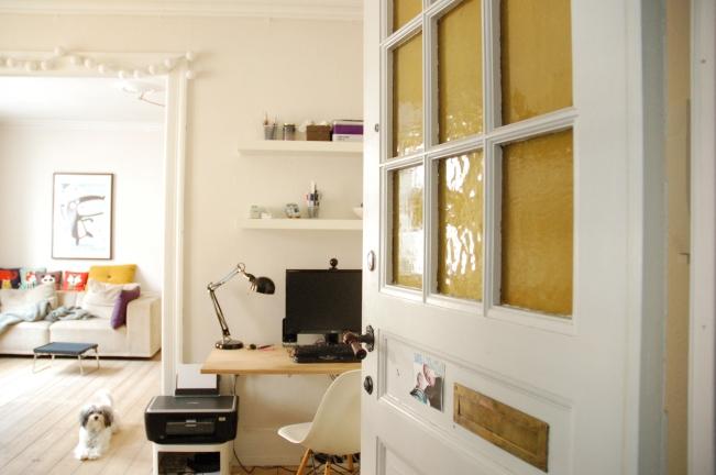 view into livingroom through entrance door