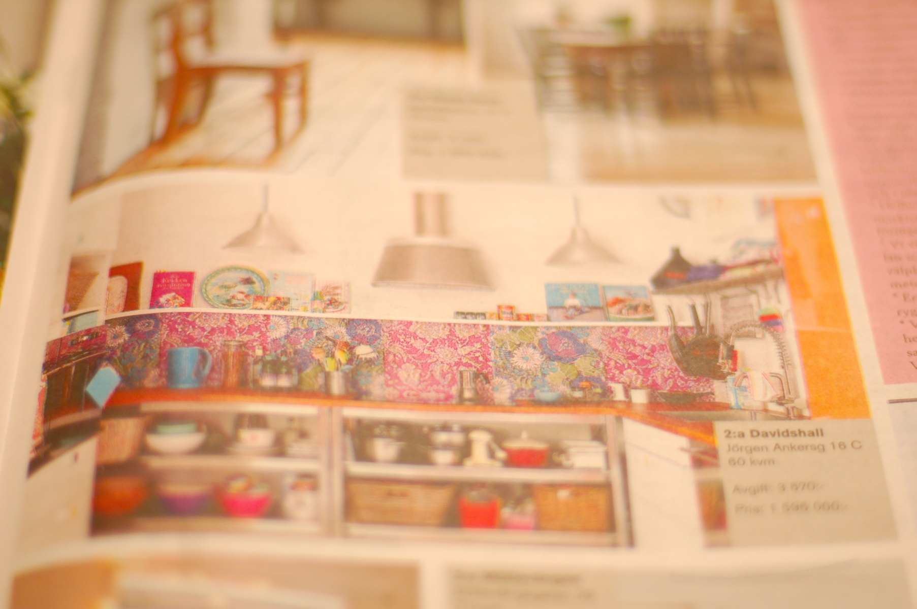 add in the paper showing my colourful kitchen