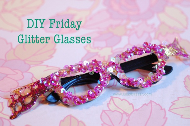 pink sequined glitter glasses