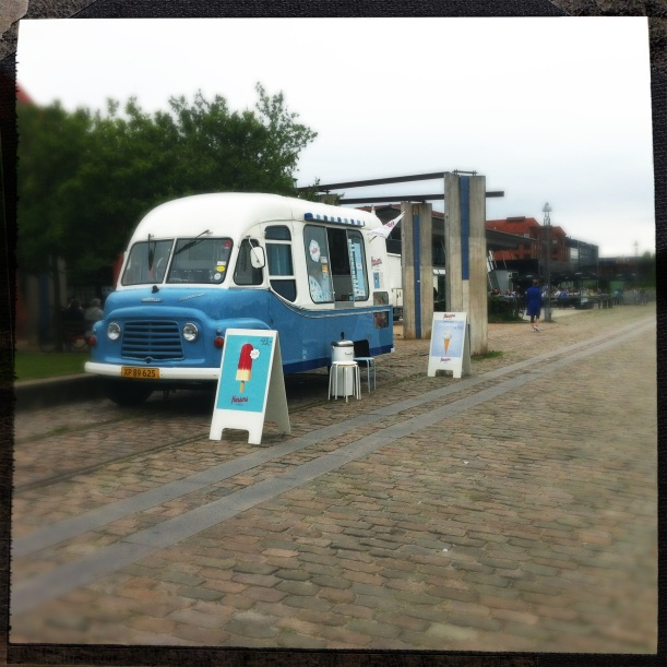 blue and white retro ice cream truck in Copenhagen