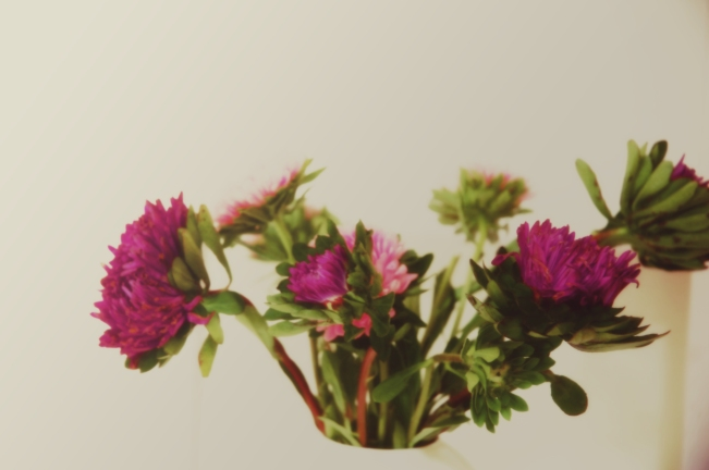 pink Dahlias in vintage vase