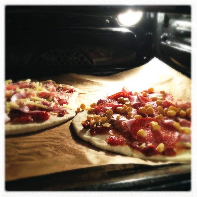 Baking the pizza in a hot oven
